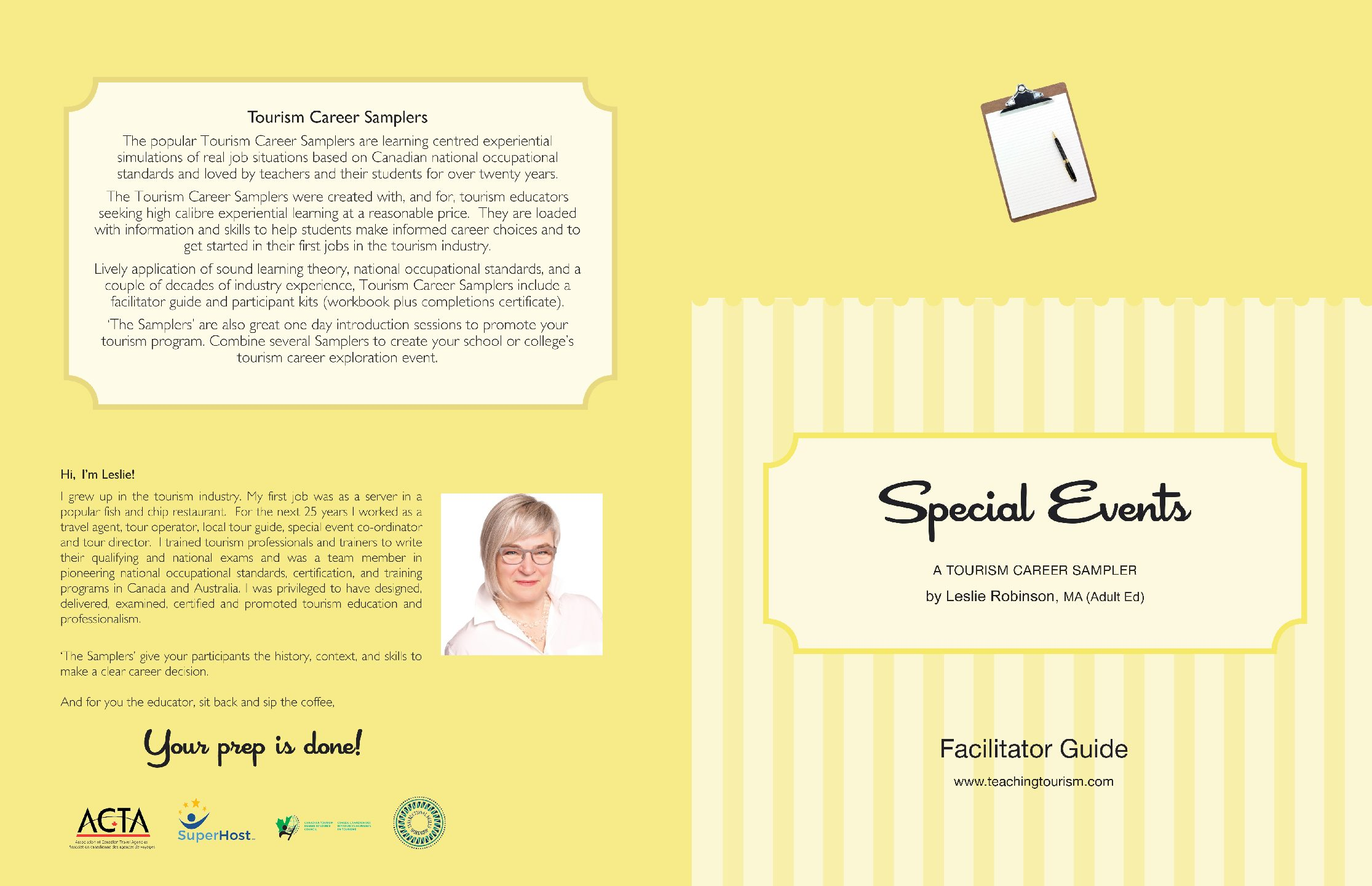 Special Events Coordinator Facilitator Guide and Workbook